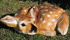 Fawn, Baby Deer, Chainsaw Carving, Chainsaw Art, Yard Decorations, Statue, Nature, Animals Chainsaw Carvings, Wood Carvings, Duck Calls, Tree Carving, Yard Decorations, Baby Deer, Whittling, Nature Animals, Wood Work
