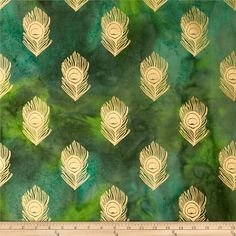 Indian Batik Montego Bay Metallic Peacock Feathers Green from @fabricdotcom  From Textile Creations, this Indian batik is perfect for quilting, apparel and home decor accents. Colors include metallic gold and green.