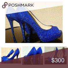 "Blue Guess Peep Toe Heels covered in Crystal Absolutely Gorgeous Guess Platform Peep-toe Heels with Blue Crystals.  I used approximately 6,000+ Blue CRYSTAL Rhinestones.  * * * These are Not low quality acrylic, resin (plastic) or, crystal made from molds. * * *  They are a size 7.5.and have a 4.5"" heel with a 1"" platform.  Remember each item is crystallized by hand individually one stone at a time.   I am a perfectionist & my very worst critic, therefore my mission is to create the perfect…"