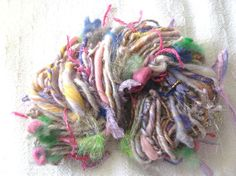 Handspun Art Yarn / Fairy Garden / Eco friendly / by by Dreamfiber,