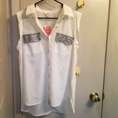 Candies short sleeve/tank top button up White with silver glittered pockets. Short sleeve/thicker tank top sleeve. Button up. Collared. Fold up sleeved. Never worn. Candie's Tops Blouses