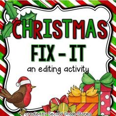 Christmas is coming - and so is another fix-it freebie! My kiddos look forward to the next version of our Fix-It activity. Sometimes I make it a center for students to work during Word Work. Other times, I use the activity with the whole class at once. Word Work Activities, Christmas Activities, Writing Activities, Classroom Activities, Teaching Resources, Teaching Ideas, Preschool Bulletin, Writing Strategies, Teaching Writing