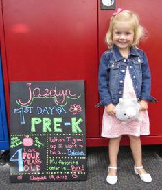 First Day of School Chalkboard Sign. Chalkboard markers work much better than dusty chalk!