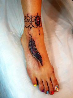 Tattoo Evgeniy Pozdeev - tattoo's photo In the style Realistic, Female, Pluma Foot Tattoos Girls, Forearm Band Tattoos, Ankle Tattoos For Women, Mom Tattoos, Body Art Tattoos, Anklet Tattoos, Feather Tattoos, Tattoos To Cover Scars, Stylist Tattoos