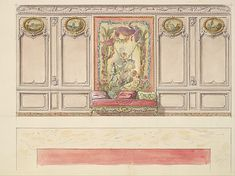 Design for a Wall Elevation with a Large Painted Panel and a Sofa (Third Floor) Mewès and Davis (active London and Paris, from 1900)