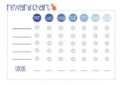 Toddler reward chart - I'm not sure what we're using this for but I have a feeling it will come in handy soon!