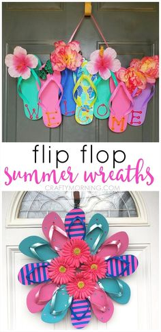 Summer flip flop wreaths what a cute craft to hang on a door! Summer flip flop wreaths what a cute craft to hang on a door! The post Summer flip flop wreaths what a cute craft to hang on a door! appeared first on Summer Diy. Summer Diy, Summer Crafts, Holiday Crafts, Crafts For Kids, Diy Christmas, Craft Ideas For Adults, Kids Diy, Crafts Cheap, Summer Ideas