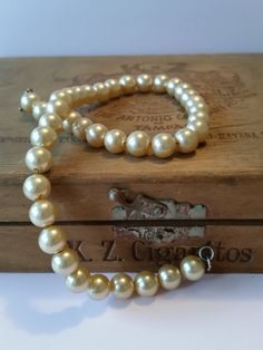 "1940's Faux Pearl Necklace - Choker Length | Vintage 15.5"" Strand Gold Beads 