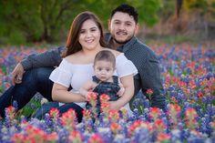 Beautiful family in Bluebonnets