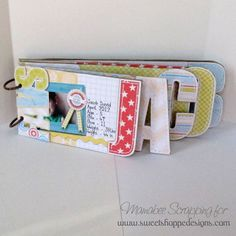 Step by step tutorial on how to make a cute name album from cardboard and using digital scrapping!