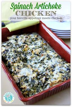 Spinach Artichoke Chicken Recipe - I'm going to lighten this up by changing to fat free greek yogurt, part skim cheese etc.