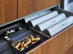 The bulthaup b3 'Prism' drawer organisation system keeps everything in place, including everyday items such as clingfilm and foil.