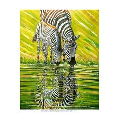 Look Over This NOVICA Colorful Signed 50-Inch Unique Painting of African Zebras ($3,158) ❤ liked on Polyvore featuring home, home decor, wall art, green, paintings, realist paintings, green h ..
