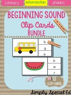 This clip card bundle contains clip cards beginning alphabet sounds! Perfect for literacy centers, independent work stations, interventions, special education, workboxes, speech practice, or review to beat that summer slump! Includes 2 cards for each letter of the alphabet! 52 cards total!   No crazy colors so save your precious ink!  Print, laminate, and reuse for years to come!