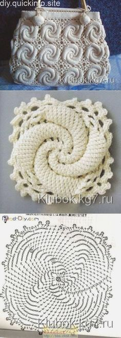 New Crochet Granny Square Purse Pattern Yarns Ideas Spiral Crochet, Freeform Crochet, Crochet Squares, Crochet Motif, Crochet Designs, Crochet Doilies, Crochet Flowers, Crochet Patterns, Granny Squares