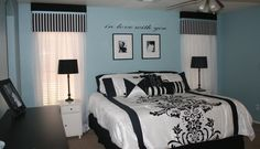 Master bedroom redo: white, grey, silver, (black or brown furniture) & tiffanyblue!