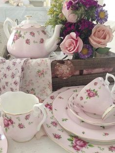 Vintage Shabby Pink! Find similar sets of vintage china on the shelves of your local Goodwill!