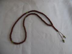 Chapelet bouddhiste, mala, couleur café, perles en bois et jade. : Bijoux pour hommes par crea-039-martine