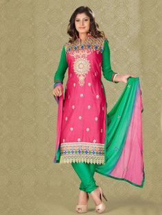 Pink Cotton Suit With Zari And Resham Embroidery Work