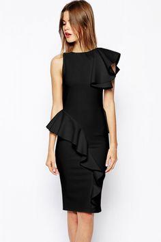 Black Ruffle Bonded Texture Body-Conscious Dress Peplum Gown, Bodycon Dress, Peplum Dresses, Ruffle Dress, Sleeveless Blouse, Corset Underbust, Fashion Office, Street Fashion, Paisley