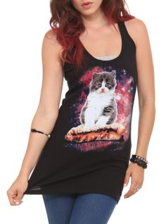 Black racer back tank top with kitten sitting upon a peanut butter & jelly sandwich.