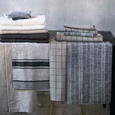 Well-Wrinkled Linen Finished Edge Tablecloth in House + Home Table Linens at Terrain
