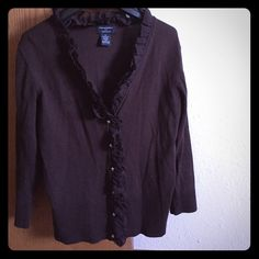 Cardigan Dark brown cardigan with a cute details. Great quality. Size M . Like new Philosophy Sweaters Cardigans