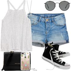 A fashion look from January 2018 by findthefinerthings featuring Splendid, Converse, Michael Kors, Elsa Peretti, Casetify and Ray-Ban
