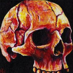 """Skullset First run, hand signed and numbered prints of Skullset, a finely detailed, glowing study of the human skull in warm sunset hues in acrylic on 8x8"""" canvas. A mirrored painting of Skullnight, get the complete set!  STORE: https://tanglefire.etsy.com http://amandaleigh32.wix.com/amandaleigh https://www.facebook.com/artamandaleigh"""