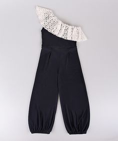 Look at this Navy & Crème Lace Ruffle Asymmetrical Jumpsuit - Toddler & Girls on #zulily today!