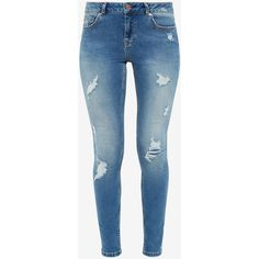 Ted Baker Ripped skinny jeans ($175) ❤ liked on Polyvore featuring jeans, pants, bottoms, skinny jeans, denim skinny jeans, distressed skinny jeans, blue jeans, ripped skinny jeans and destructed jeans