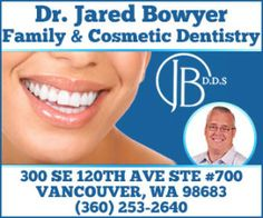 Jared Bowyer is a Vancouver, WA dentist specializing in family dentistry, cosmetic dentistry, and dental implants. Dental Hygiene, Dental Health, Dental Care, Take Care Of Yourself, Improve Yourself, Best Dentist, Look Here, Cosmetic Dentistry, Care About You