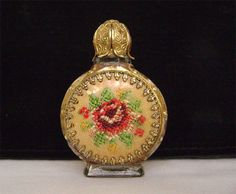 Vintage Czech glass Petit point Rose goldtone Filigree mini perfume bottle