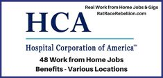 HCA is another Fortune 500 hiring work from home employees. With benefits! via @https://www.pinterest.com/ratracerebellio/