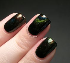 Subtle Multichrome Galaxy Water Marble Water Marbling nail art with Ninja Polish Alexandrite Facets Girly Bits Street Magic Girly Bits Shift Happens and a black creme