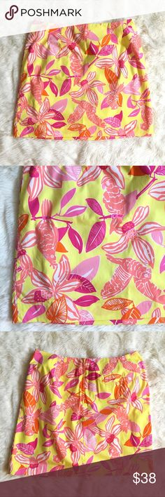 """Lilly Pulitzer Yellow Orange Parrot Tropical Skirt Waist 17.5"""" 