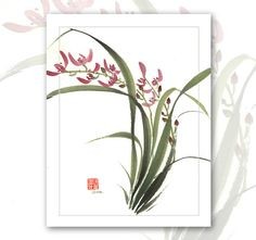 Watercolor Chinese Brush Painting Cards  Wild Orchids by Vartus