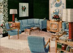 Blue and Green Living Room - Vintage decorating / interior design. Mid Century Modern