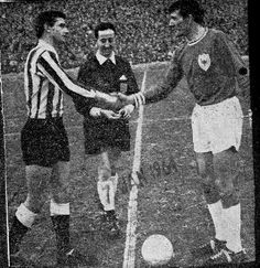 Newcastle Utd 1 Bedford Town 2 in Jan 1964 at St James Park. The captains, Stan Anderson and David Coney, meet before the FA Cup 3rd Round tie.
