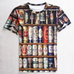 Round Neck 3D Beer Print Slimming Short Sleeve Men's T-Shirt