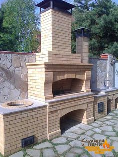 fireplace, pizza oven, and BBQ Backyard Kitchen, Outdoor Kitchen Design, Pizza Oven Outdoor, Outdoor Cooking, Parrilla Exterior, Pain Pizza, Barbecue Garden, Brick Bbq, Fire Pit Grill