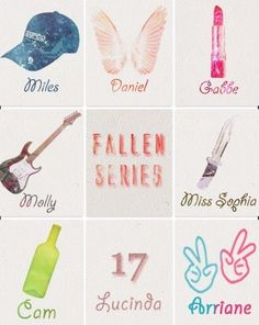 Miles - Daniel - Gabbe - Molly - Miss Sophia - Cam - Lucinda - Arriane Serie Fallen, Fallen Saga, Fan Art, Books, Movies, Life, Darkness, Libros, Films