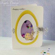 How to make an Easter Egg Shaker Card | papermilldirect - Designed by Angela Dodson - For more information, more pics and a step by step tutorial, please head over to the papermilldirect Inspire blog https://www.papermilldirect.co.uk/inspire/post/how-to-make-an-easter-egg-shaker-card
