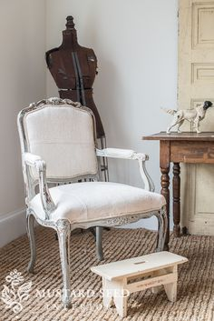 reupholstering a French chair   part 5   upholstering the chair - Miss Mustard Seed