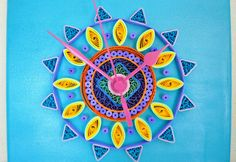 Quilled Art Canvas Clock  Statement. Art. Wall by PaperSpirals