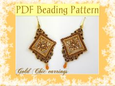 Gold Chic earrings. The beading pattern is available in Italian and english version here:  https://www.etsy.com/it/listing/186411677/schema-perline-orecchini-gold-chic-pdf?ref=shop_home_feat_4