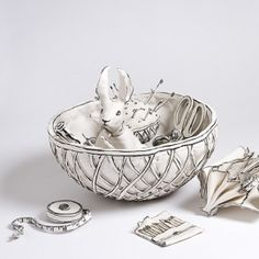 Katharine Morling   A Stitch in Time  Porcelain, porcelain slip and black stain