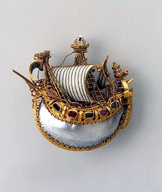 Pendant: Caravel, late 16th century, Italy.  Gold, rubies, emeralds, pearls and enamel