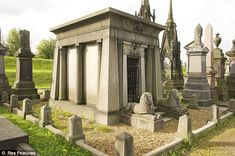 This Egyptian style grey granite mausoleum marks the grave of the Illingworth family at Undercliffe Cemetery, Bradford, West Yorkshire