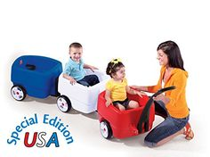 "Step2 Toddler Wagon Long Handle Red, White, Blue Complete Choo Choo Train Combo - USA Edition  Each wagon car has comfortable seating, roomy foot wells, seat belts and molded-in cup holders  Front car features storage under the seat for toys and parent's car keys  8"" Whisper Quite Wheels for a smooth, quite ride  Long handle makes it easy for parents to pull this kids wagon  Toddler wagon is Made In America and is great for parades and strolls around the neighborhood or park"